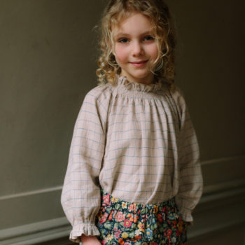 Nellie Quats Mother may Blouse Oat Cornflower Windowpane Check #littlefrenchheart
