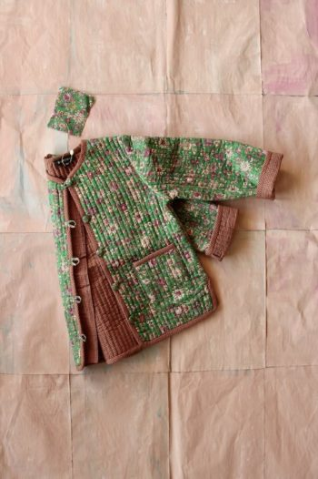 Bonjour Diary Quilted Jacket with small Green Flowers #Littlefrenchheart1