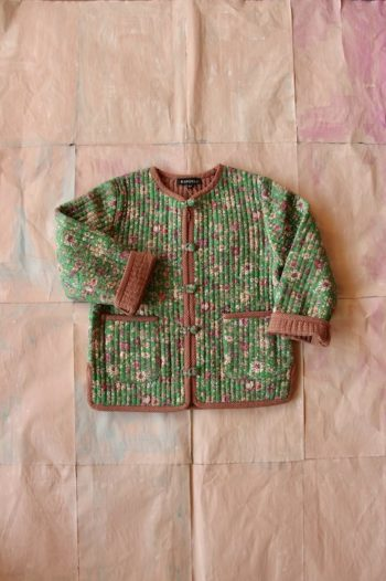 Bonjour Diary Quilted Jacket with small Green Flowers #Littlefrenchheart2