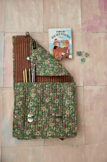 Bonjour Diary Quilted School Bag Small Green flowers Fabric #Littlefrenchheart