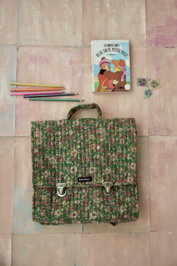 Bonjour Diary Quilted School Bag Small Green flowers Fabric #Littlefrenchheart1