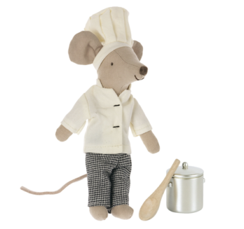 Maileg Chef Mouse with Pot & Spoon